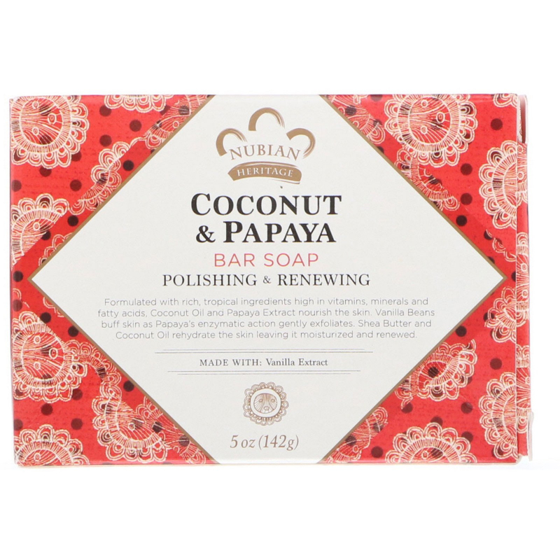 Nubian Heritage, Coconut & Papaya Bar Soap, 5 oz (142 g)