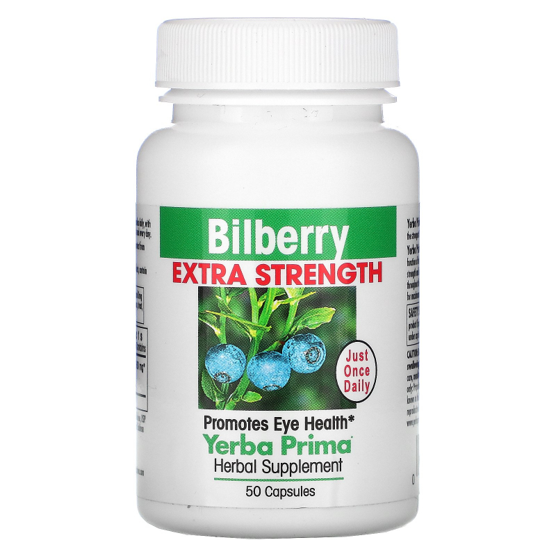 Yerba Prima, Bilberry Extra Strength, 160 mg, 50 Capsules