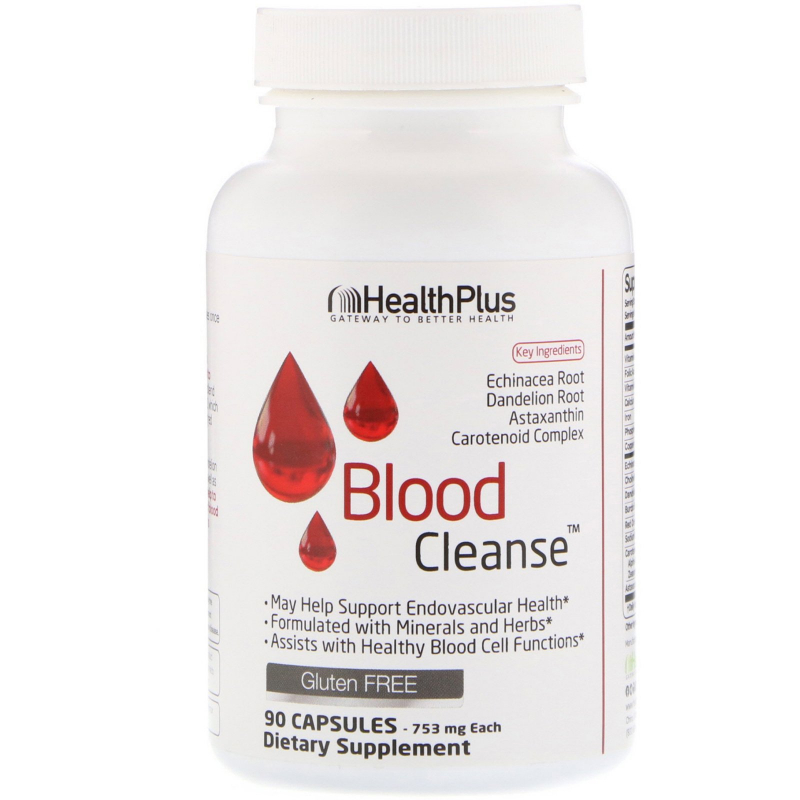 Health Plus, Blood Cleanse, 753 mg, 90 Capsules