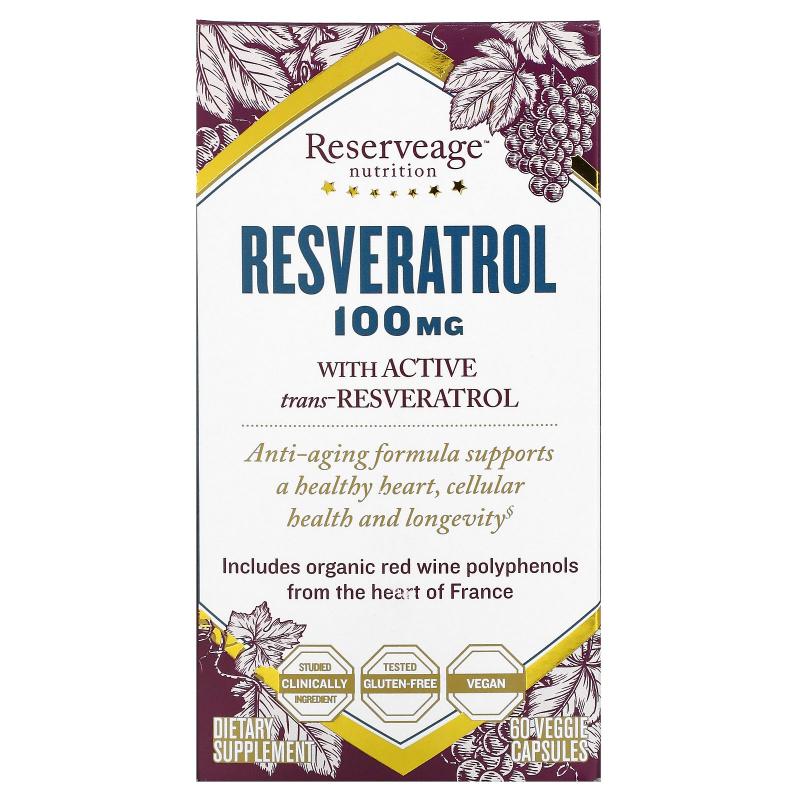 ReserveAge Nutrition, Resveratrol, 100 mg, 60 Veggie Caps