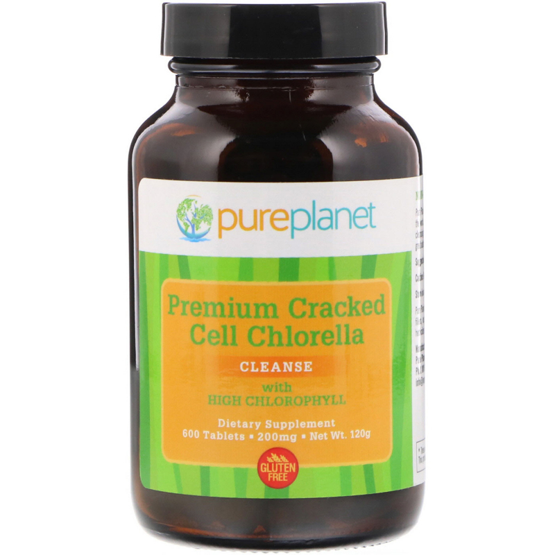 Pure Planet, Premium Cracked Cell Chlorella, 200 mg, 600 Tablets