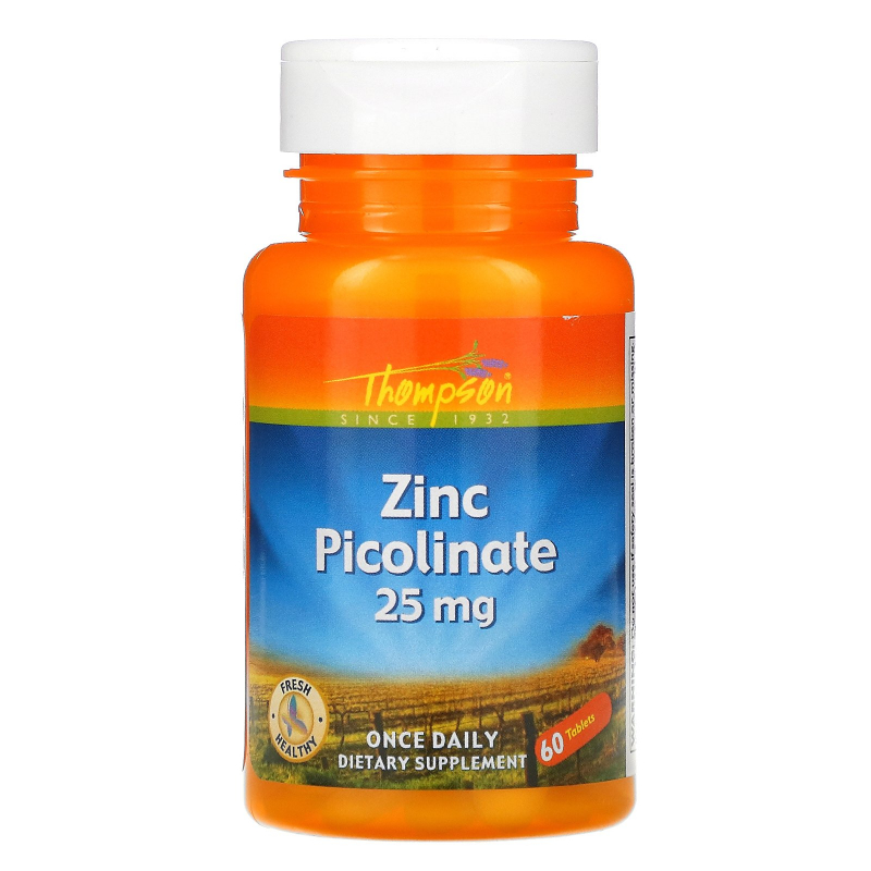 Thompson, Zinc Picolinate, 25 mg, 60 Tablets