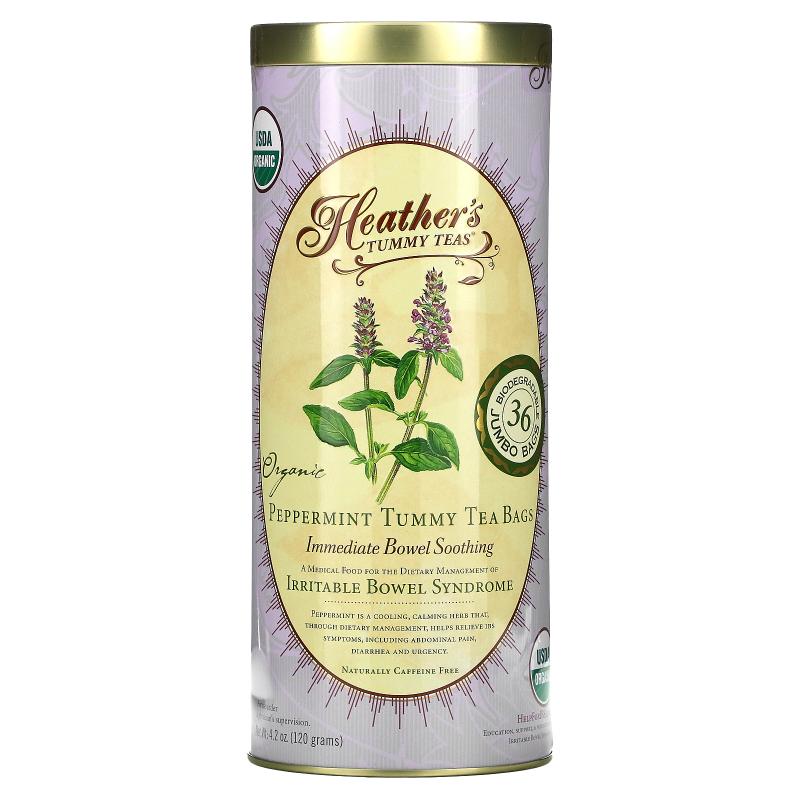 Heather's Tummy Care, Tummy Teas, Organic Peppermint Tea Bags, Caffeine Free, 36 Extra Large Tea Bags, 4.2 oz (120 g)