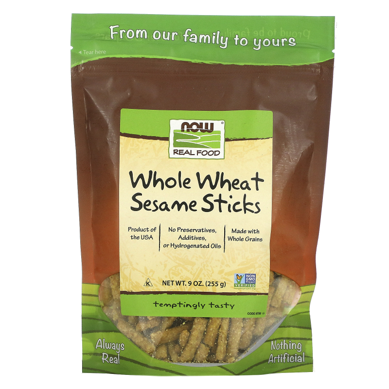 Now Foods, Real Food, Whole Wheat Sesame Sticks, 9 oz (255 g)