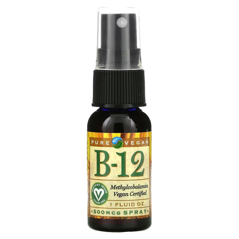 Pure Vegan, B-12, Spray, 500 mcg, 1 fl oz