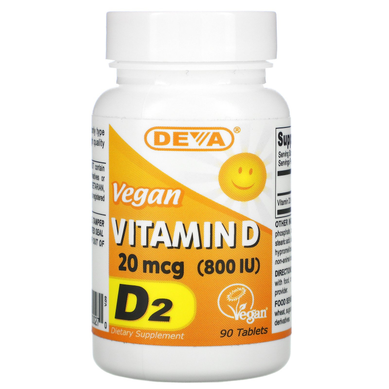 Deva, Vegan, Vitamin D, D2, 800 IU, 90 Tablets