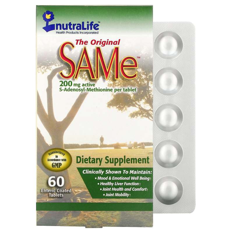 NutraLife, The Original SAMe (S-Adenosyl-L-Methionine), 200 mg, 60 Enteric Coated Tablets