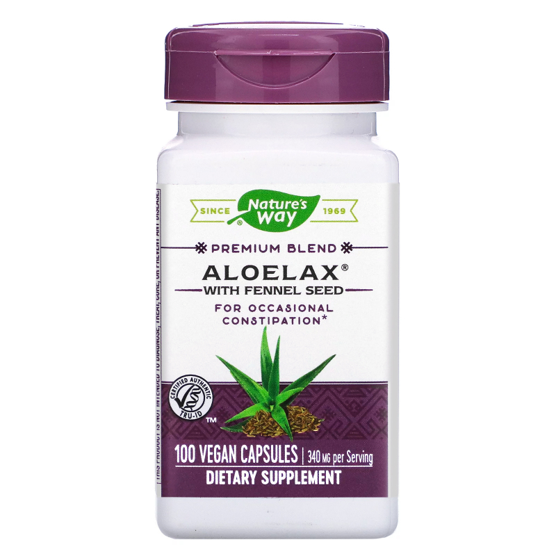 Nature's Way, Aloelax with Fennel Seed, 340 mg, 100 Vegetarian Capsules