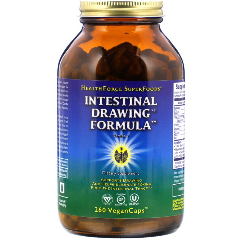 HealthForce Superfoods, Intestinal Drawing Formula Capsules, 260 Veggie Caps