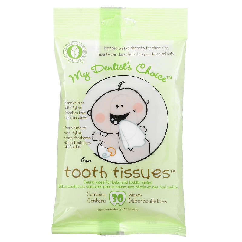 Tooth Tissues, My Dentist's Choice, Dental Wipes for Baby and Toddler Smiles, 30 Wipes