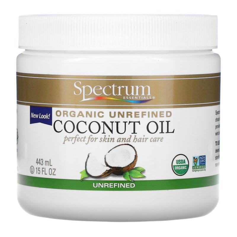 Spectrum Essentials, Organic Unrefined Coconut Oil, 15 fl oz (443 ml)