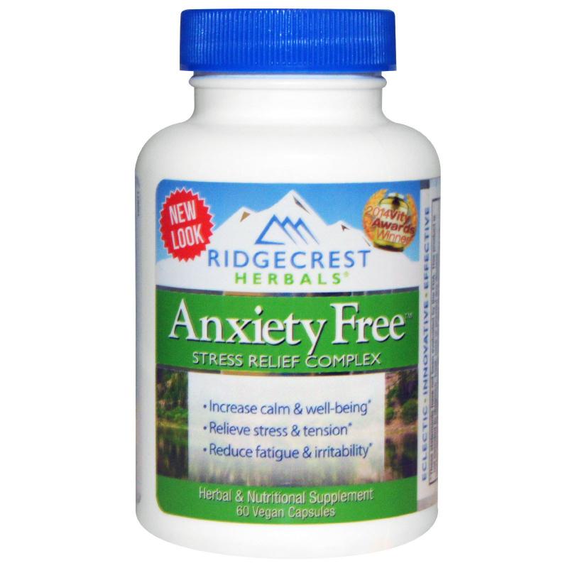 RidgeCrest Herbals, Anxiety Free, Stress Relief Complex, 60 Vegan Caps