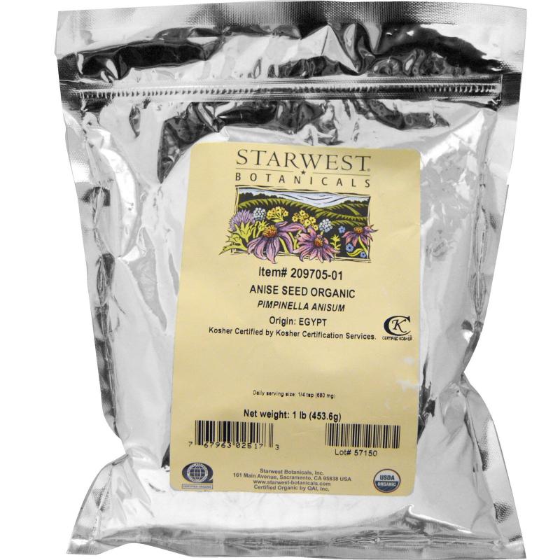 Starwest Botanicals, Anise Seed Whole, Organic, 1 lb (453.6 g)