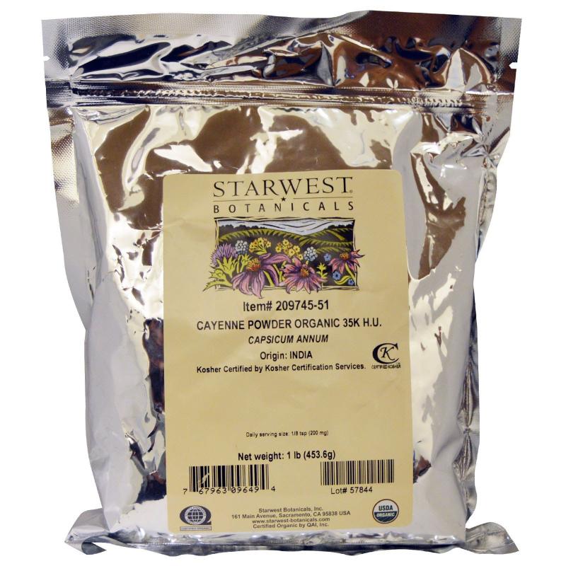 Starwest Botanicals, Organic Cayenne Powder 35K H.U., 1 lb (453.6 g)