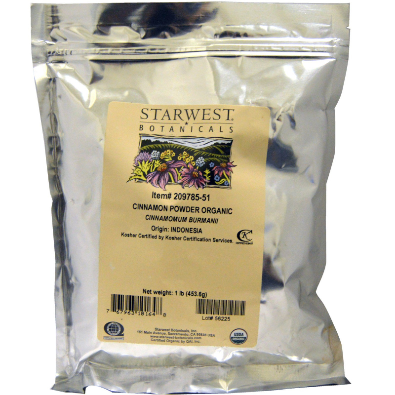 Starwest Botanicals, Organic Cinnamon Powder, 1 lb (453.6 g)