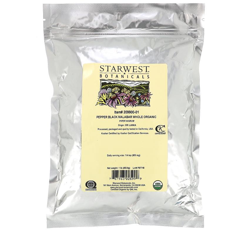 Starwest Botanicals, Organic Whole Pepper Black Malabar, 1 lb (453.6 g)