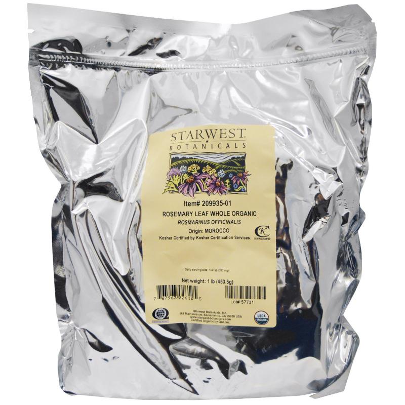 Starwest Botanicals, Organic Rosemary Leaf Whole, 1 lb (453.6 g)