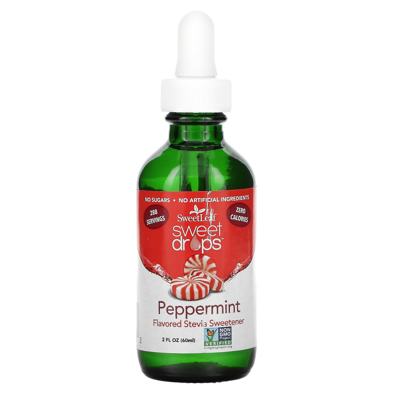 Wisdom Natural, SweetLeaf Liquid Stevia, Sweet Drops Sweetener, Peppermint, 2 fl oz (60 ml)