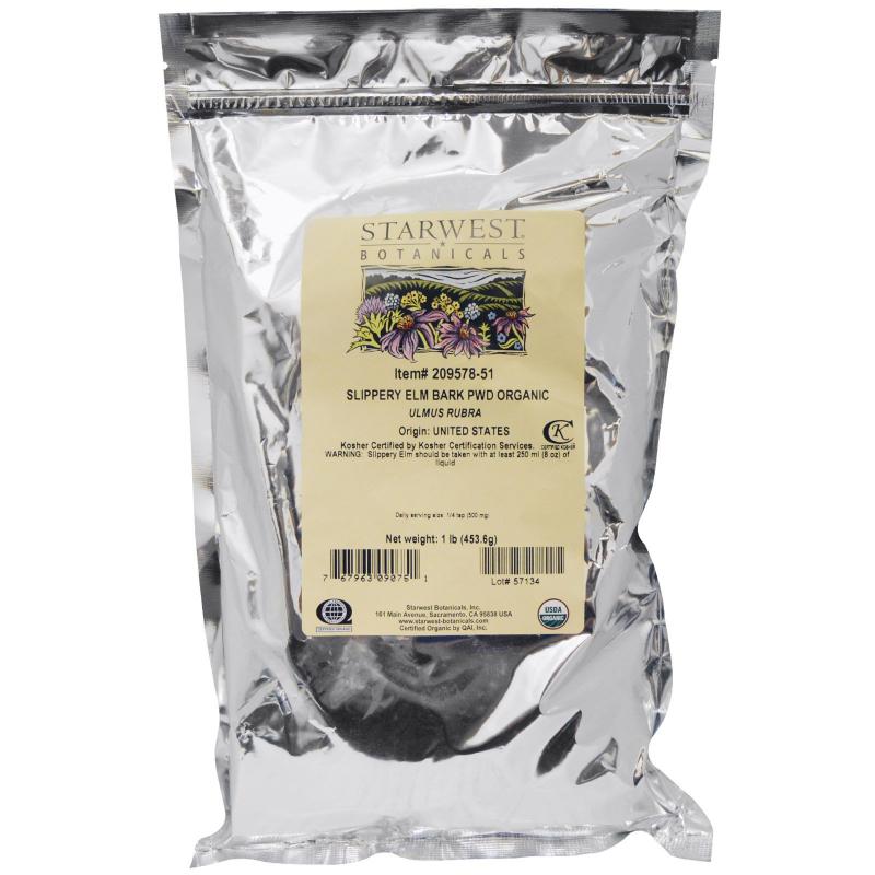 Starwest Botanicals, Organic Slippery Elm Bark Powder, 1 lb (453.6 g)