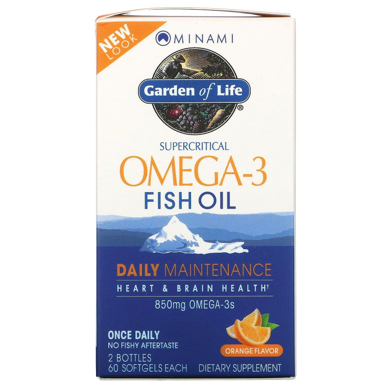 Minami Nutrition, Supercritical, Omega-3 Fish Oil, 850 mg, Orange Flavor, 120 Softgels Each