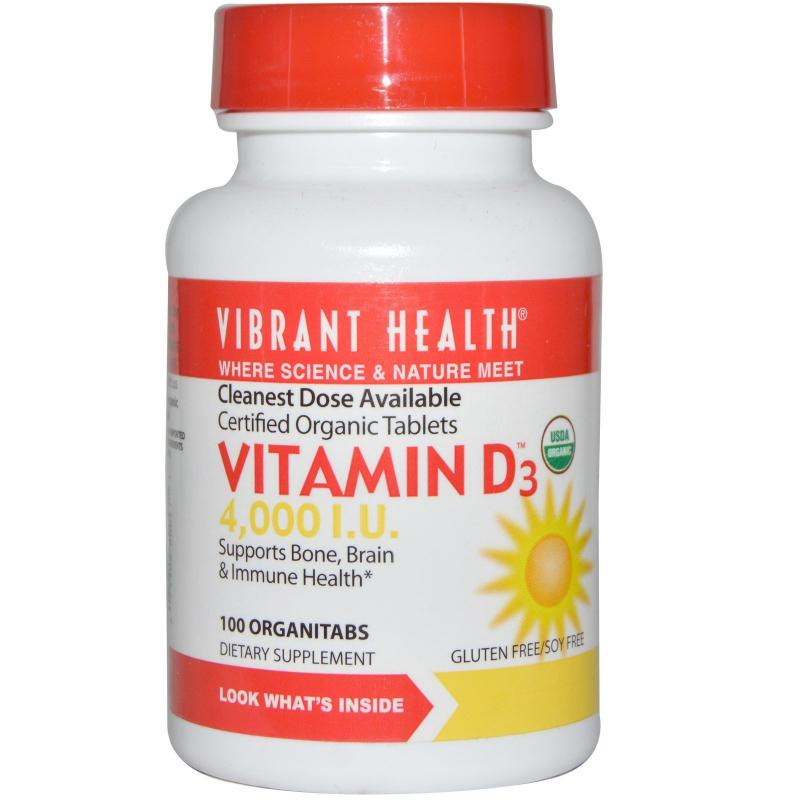 Vibrant Health, Vitamin D3, 4,000 I.U., 100 OrganiTabs