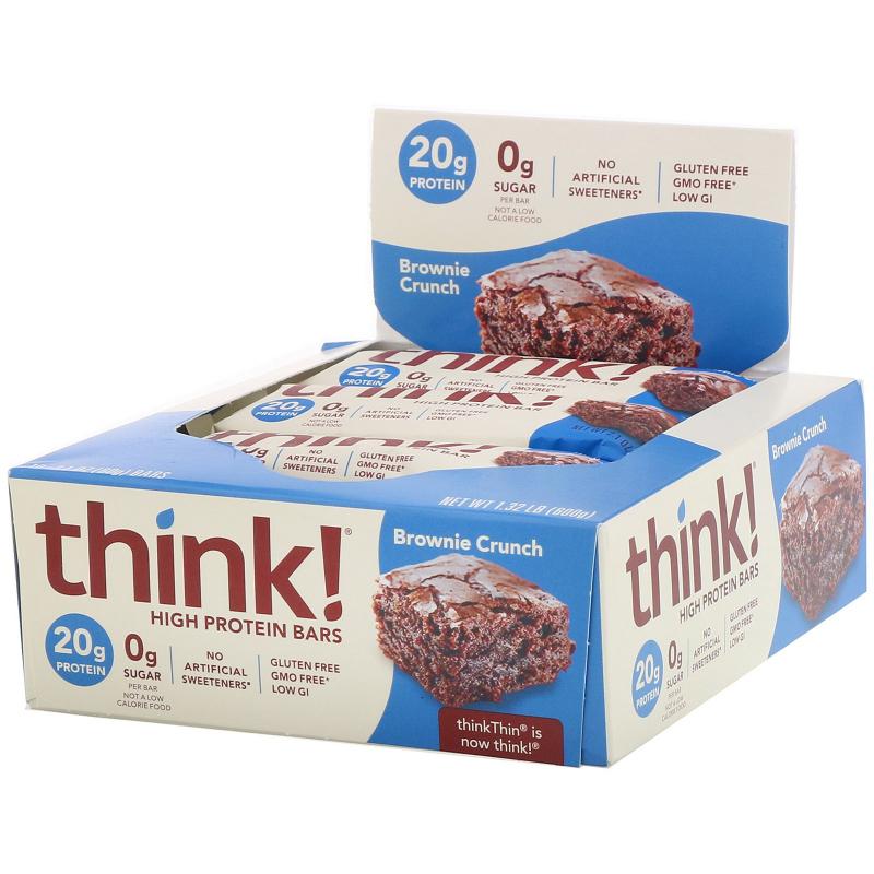 ThinkThin, High Protein Bars, Brownie Crunch, 10 Bars, 21 oz (60 g) Each