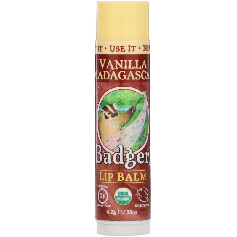 Badger Company, Organic, Lip Balm, Vanilla Madagascar, .15 oz (4.2 g)