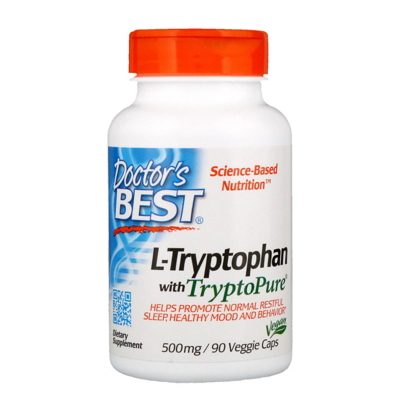 Doctor's Best, L-Tryptophan with TryptoPure, 500 mg, 90 Veggie Caps