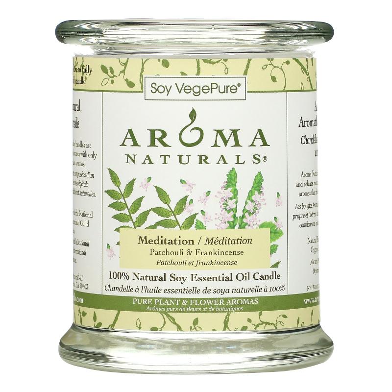 Aroma Naturals, Soy VegePure, 100% Natural Soy Pillar Candle, Meditation, Patchouli & Frankincense, 8.8 oz (260 g)