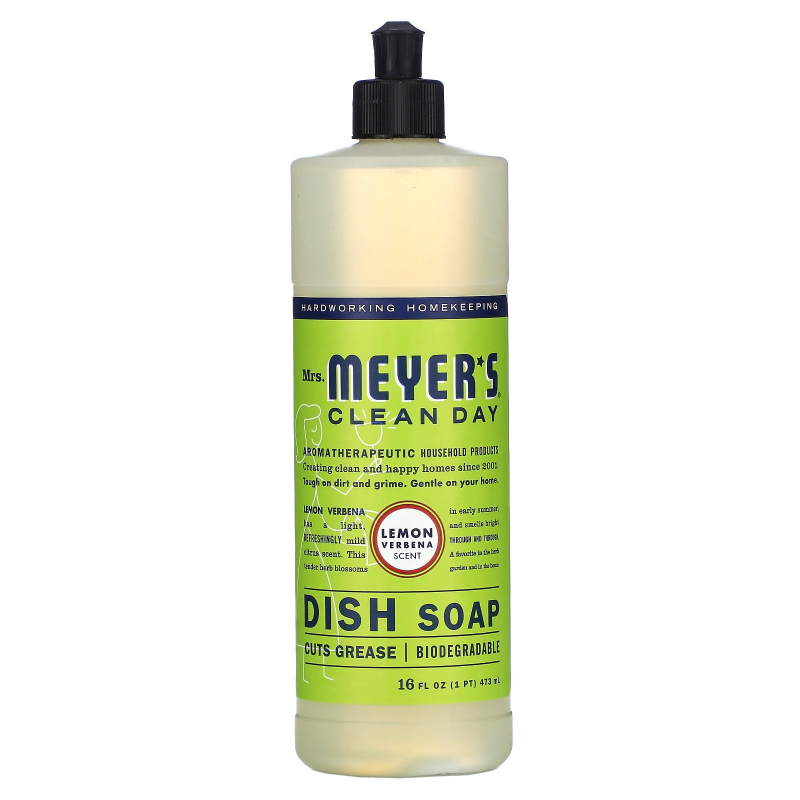 Mrs. Meyers Clean Day, Dish Soap, Lemon Verbena Scent, 16 fl oz (473 ml)