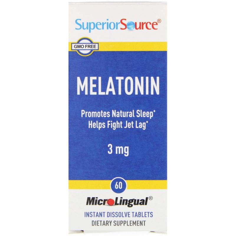 Superior Source, Melatonin, 3 mg, 60 MicroLingual Instant Dissolve Tablets