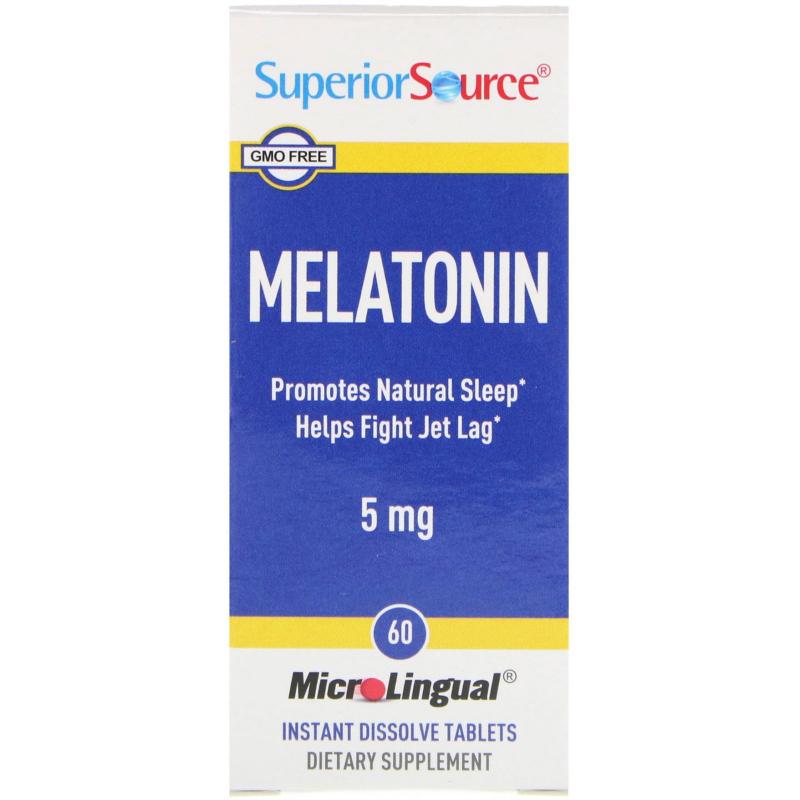 Superior Source, Melatonin, 5 mg, 60 MicroLingual Instant Dissolve Tablets