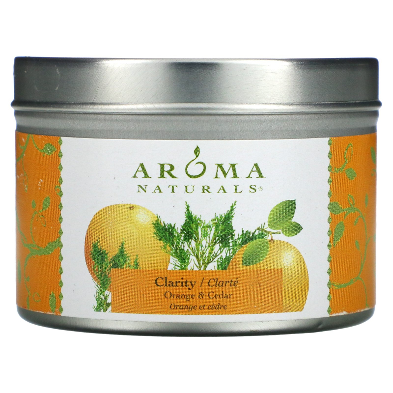 Aroma Naturals, Soy VegePure, Clarity, Travel Candle, Orange & Cedar, 2.8 oz (79.38 g)