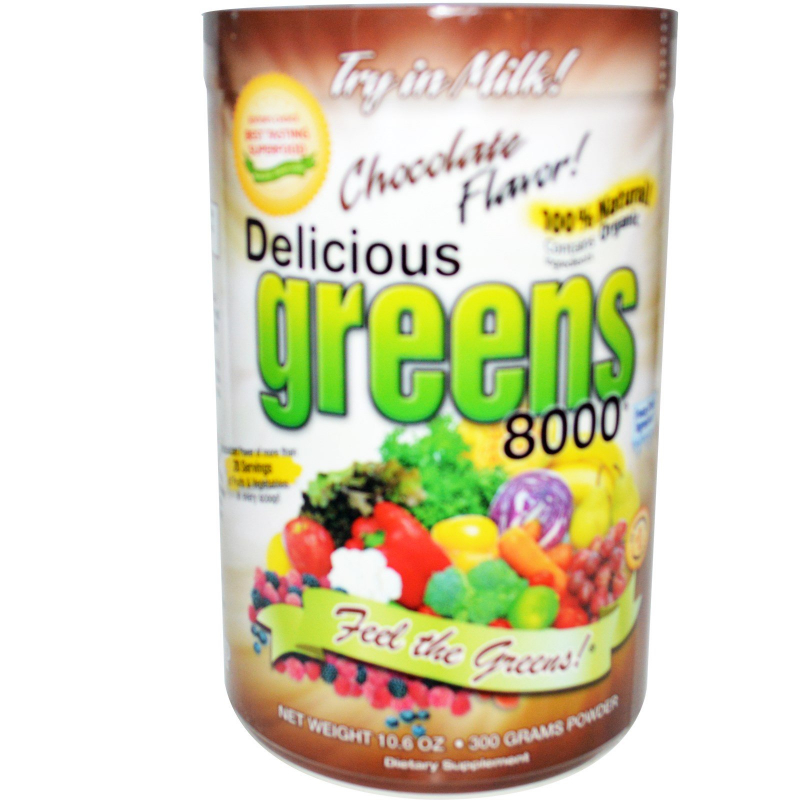 Greens World, Delicious Greens 8000, Chocolate Flavor, Powder, 10.6 oz (300 g)