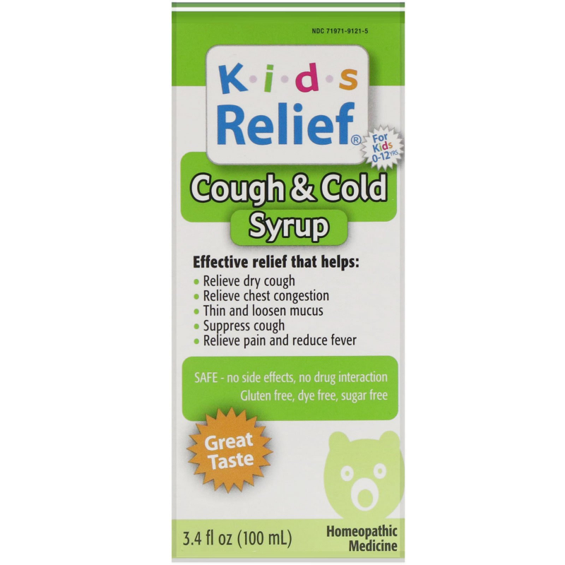 Homeolab USA, Kids Relief, Cough & Cold Syrup, 3.4 fl oz (100 ml)