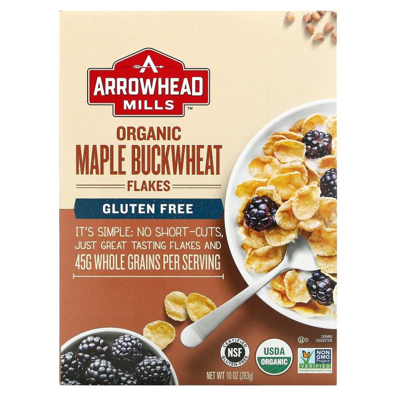 Arrowhead Mills, Organic Maple Buckwheat Flakes, Gluten Free, 10 oz (283 g)