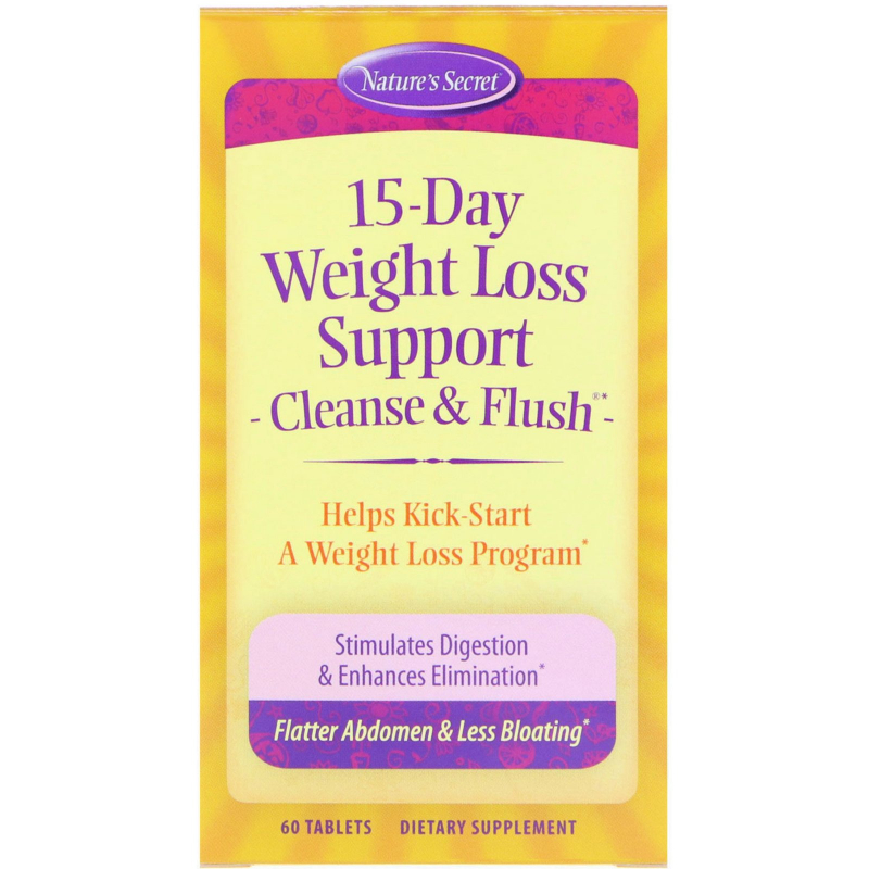 Nature's Secret, 15-Day Weight Loss Support, Cleanse & Flush, 60 Tablets