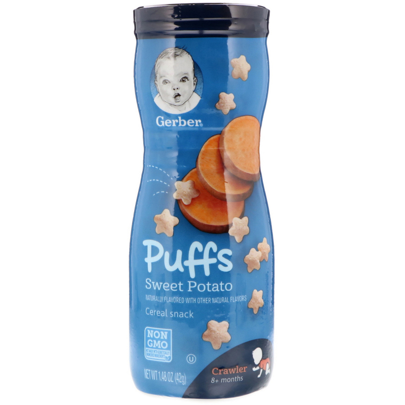Gerber, Puffs Cereal Snack, Crawler, 8+ Months, Sweet Potato, 1.48 oz (42 g)