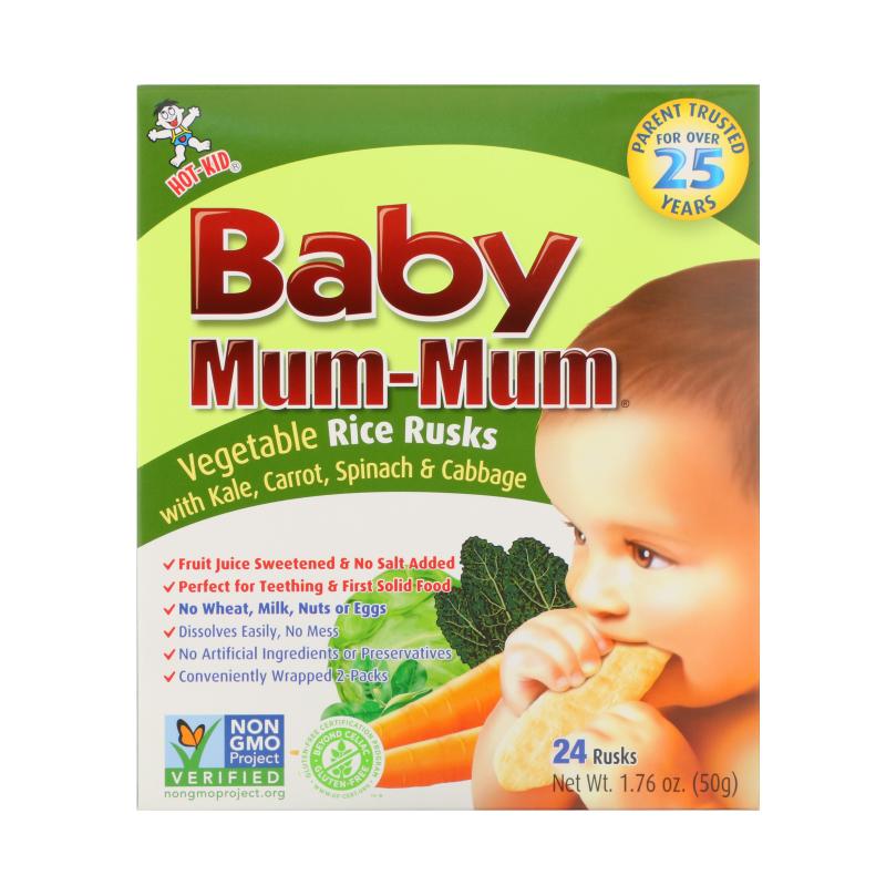 Hot Kid, Baby Mum-Mum, Vegetable Rice Rusks, 24 Rusks