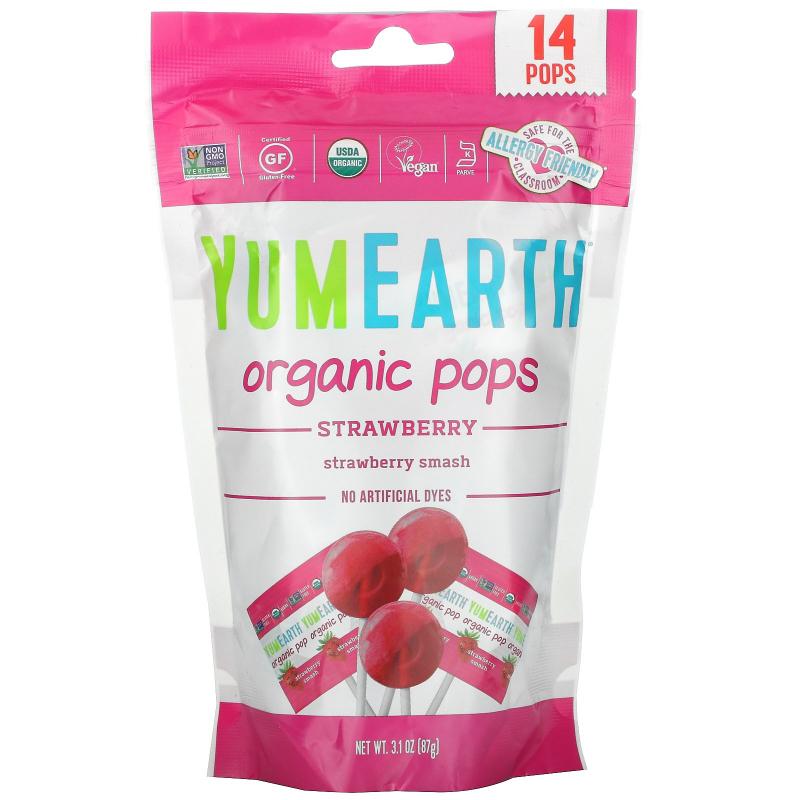 YumEarth, Organic Strawberry Pops, Strawberry Smash, 14 Pops, 3 oz (85 g)