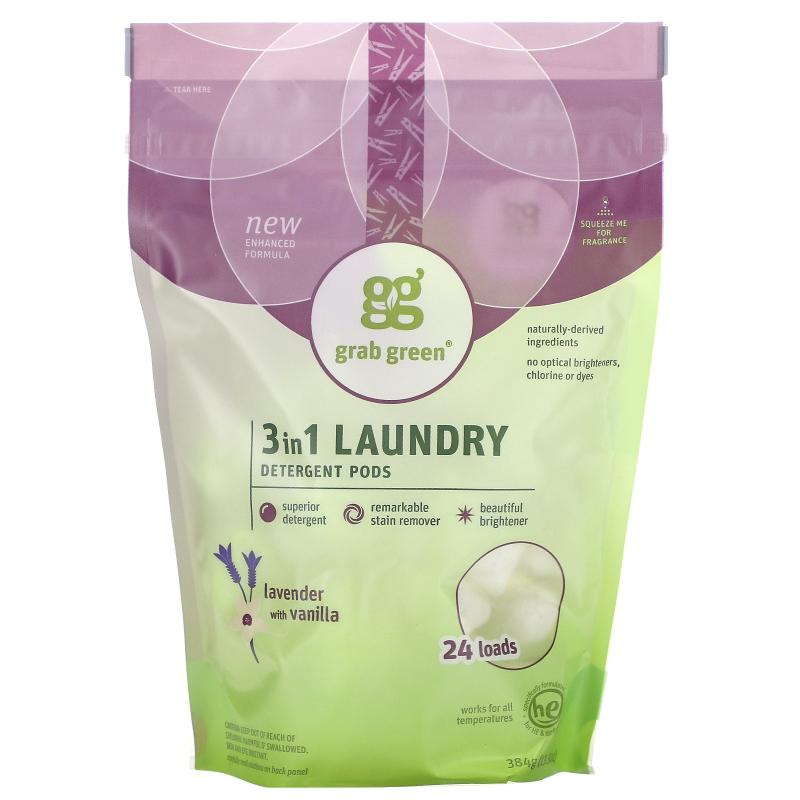 Grab Green, 3 in 1 Laundry Detergent Pods, Lavender, 24 Loads, 15.2 oz (432 g)