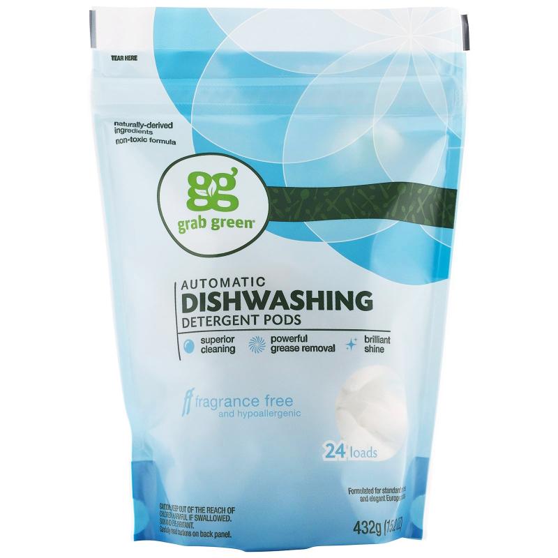 Grab Green, Automatic Dishwashing Detergent Pods, Fragrance Free, 24 Loads, 15.2 oz (432 g)