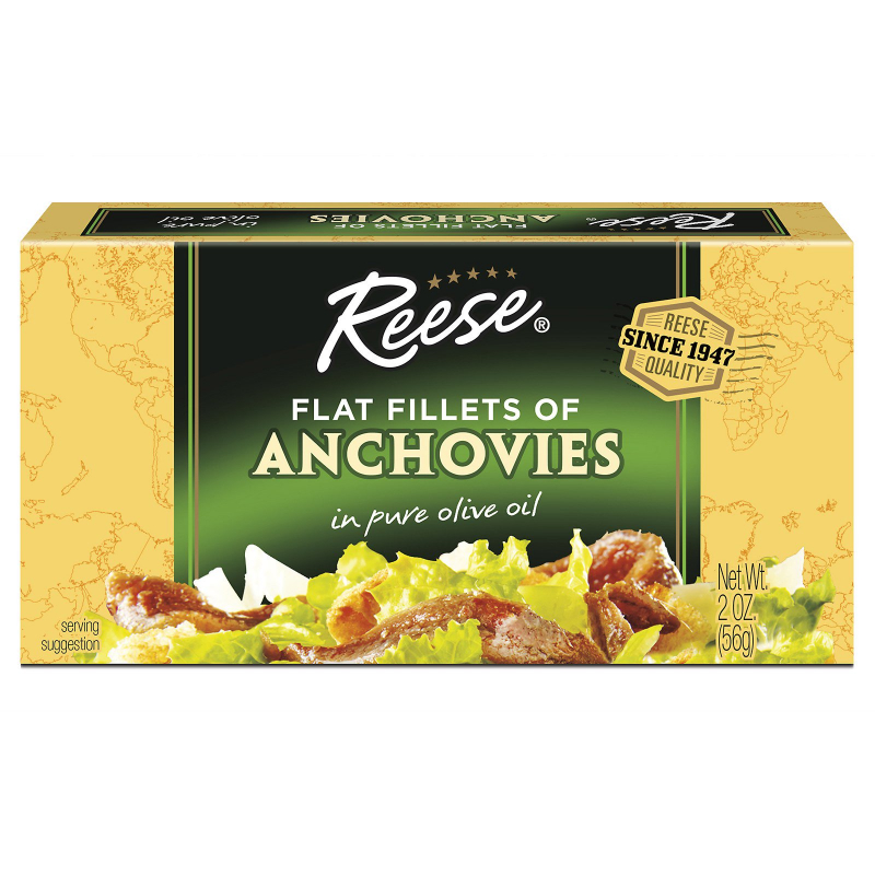 Reese, Flat Fillets of Anchovies, in Pure Olive Oil, 2 oz (56 g)