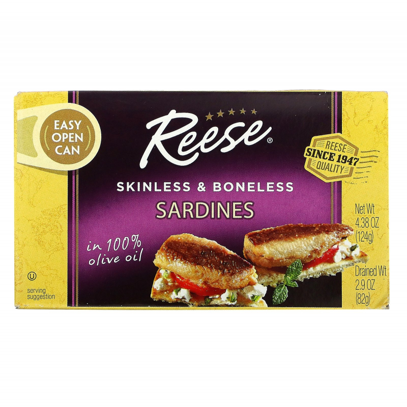 Reese, Skinless & Boneless Sardines in 100% Pure Olive Oil, 4.375 oz (125 g)