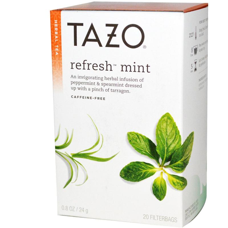 Tazo Teas, Herbal Tea, Refresh Mint, Caffeine-Free, 20 Filterbags, 0.8oz (24 g)