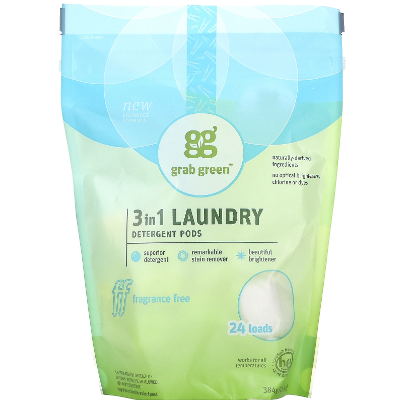 Grab Green, 3-in-1 Laundry Detergent Pods, Fragrance Free, 24 Loads, 15.2 oz (432 g)