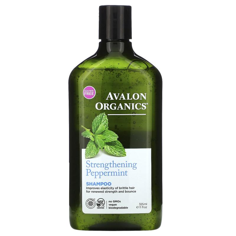 Avalon Organics, Shampoo, Strengthening, Peppermint, 11 fl oz (325 ml)
