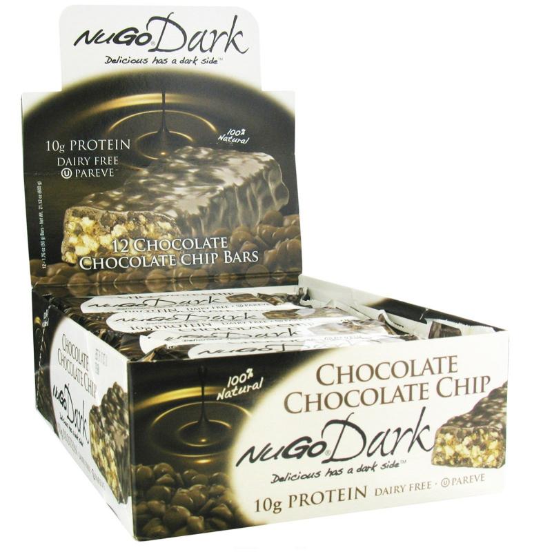 NuGo Nutrition, NuGo Dark, Protein Bars, Chocolate Chocolate Chip, 12 Bars, 1.76 oz (50 g) Each