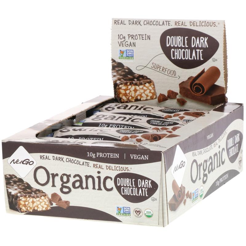 NuGo Nutrition, Organic Protein Bars, Double Dark Chocolate, 12 Bars, 1.76 oz (50 g) Each