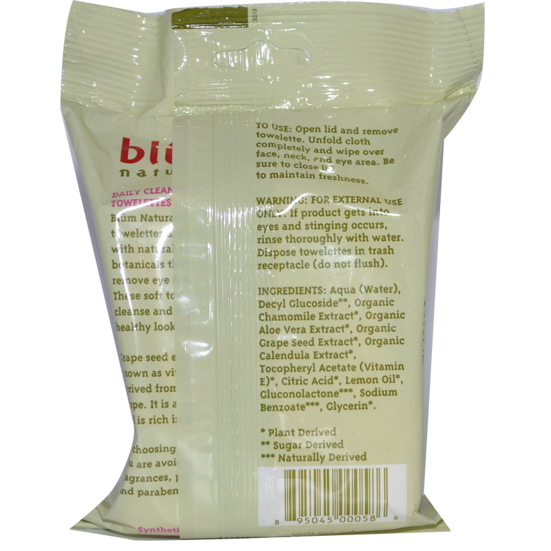 Blum Naturals, Daily Cleansing & Makeup Remover Towelettes, Pro-Age, 30 Thick Towelettes